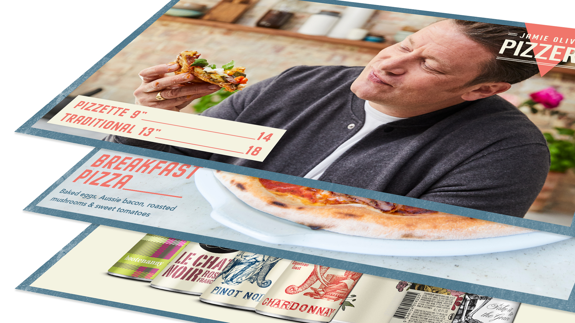 Celbrity Chef Jamie Oliver shown eating pizza on a digital menu board