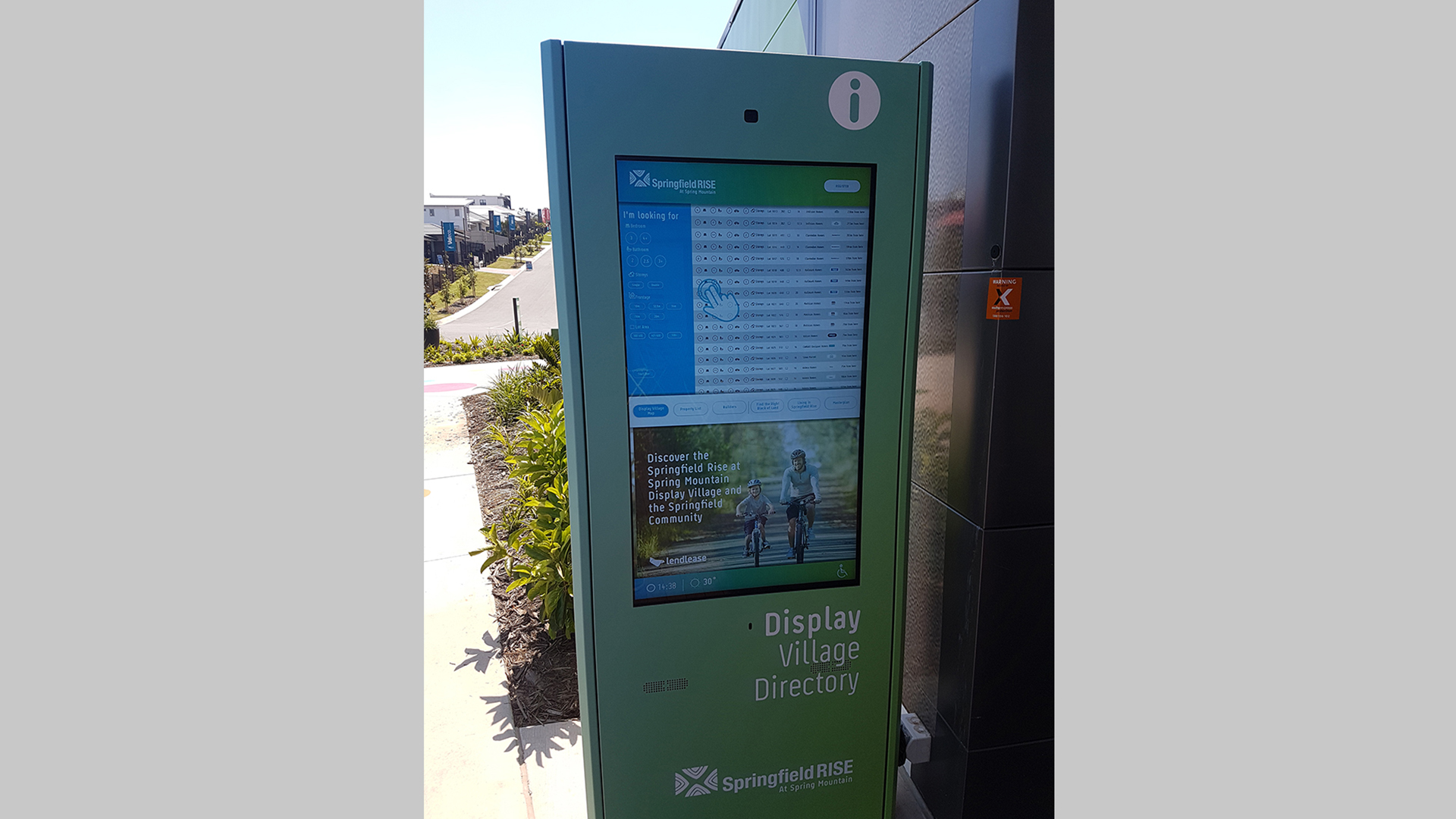 Outdoor Wayfinging Kiosk touchscreen interface at Springfield Rise in Queensland Australia