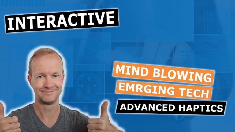 Lee Michaels on a blue background giving the thumbs up with mind blowing emerging text Interactive advanced Haptics background